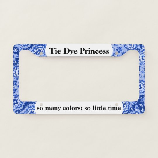 Cute Blue White Tie Dye Princess License Plate Frame Zazzle