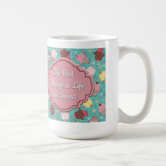 Cute Blue with Pink Yellow Cupcakes Best Things... Coffee Mug