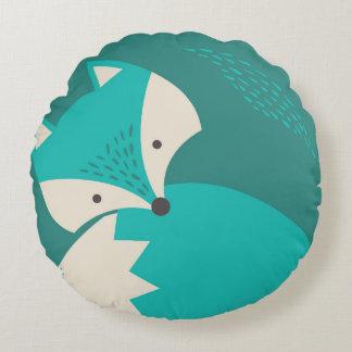 Cute Blue Wolf Cartoon Round Pillow for Kids