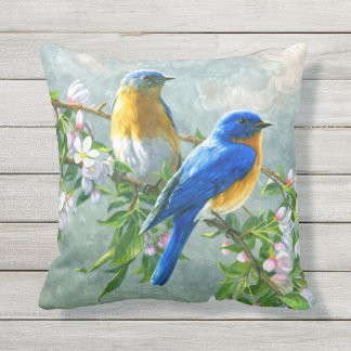 Cute Blue Yellow Birds Cherry Blossom Watercolor Outdoor Pillow