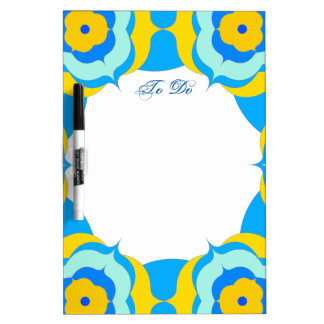 Cute Blue Yellow Floral Ring Dry Erase Board