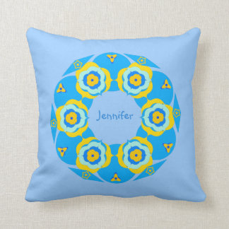Cute Blue Yellow Floral Ring Mojo Pillow
