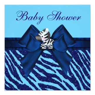 Cute Blue Zebra & Animal Print Glitter Baby Shower Card