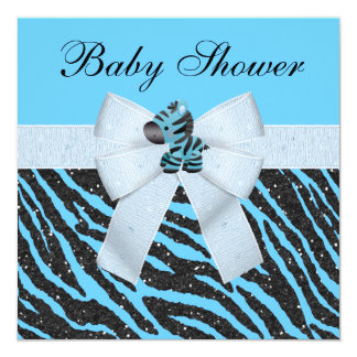 Cute Blue Zebra & Animal Print Glitter Baby Shower Custom Invites
