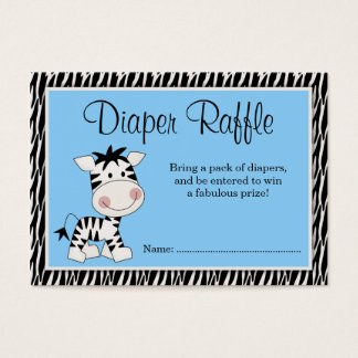 Cute Blue Zebra Baby Shower Diaper Raffle Business Card