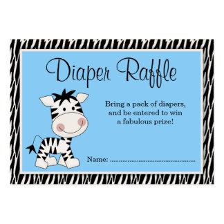 Cute Blue Zebra Baby Shower Diaper Raffle Large Business Card