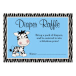 Cute Blue Zebra Baby Shower Diaper Raffle Large Business Cards (Pack Of 100)