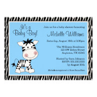 Cute Blue Zebra Boy Baby Shower Personalized Announcement