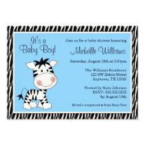 Cute Blue Zebra Boy Baby Shower Invitations