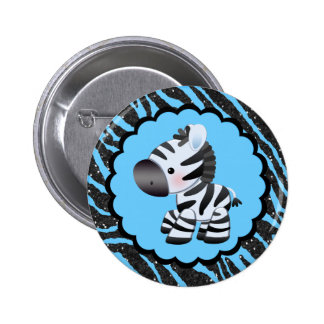 Cute Blue Zebra & Glitter Animal Print Pinback Button