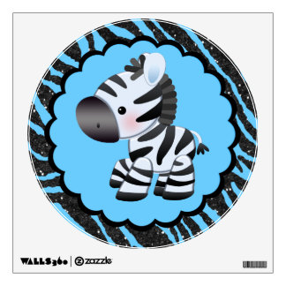 Cute Blue Zebra & Glitter Animal Print Wall Decal