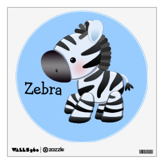 Cute Blue Zebra Wall Decal