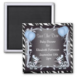 Cute Blue Zebras Save The Date Baby Shower 2 Inch Square Magnet