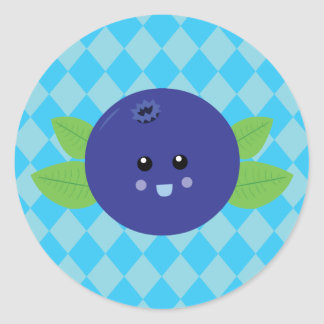 Cute Blueberry Classic Round Sticker