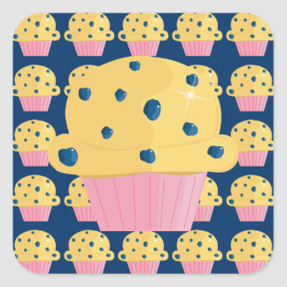 Cute Blueberry Muffin Stickers