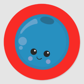 Cute Blueberry with red background Classic Round Sticker