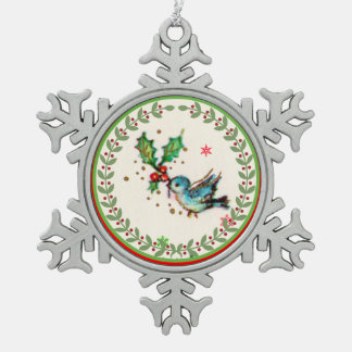 Cute Bluebird with Green and Red Holly Snowflake Pewter Christmas Ornament