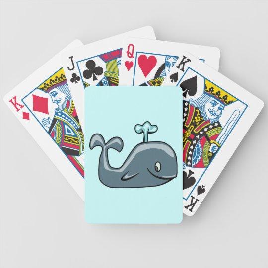 CUTE BLUEISH GREY GRAY WHALE CARTOON ANIMAL SEALI BICYCLE PLAYING CARDS