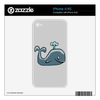 CUTE BLUEISH GREY GRAY WHALE CARTOON ANIMAL SEALI DECALS FOR THE iPhone 4