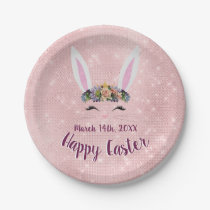 Cute Blush Pink Happy Easter Bunny Paper Plate
