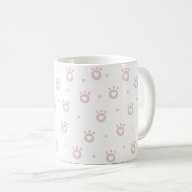 Cute Blush Pink Pet Paws & Hearts Mug