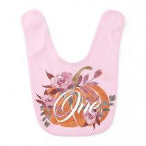 Cute Blush Pink Purple Floral Little Pumpkin One Baby Bib