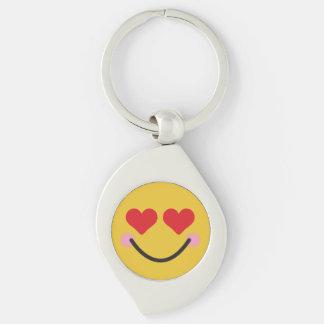 Cute blushing heart for eyes emoji keychain