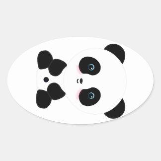 Cute Blushing Panda Bear Oval Sticker