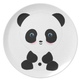 Cute Blushing Panda Bear Dinner Plates
