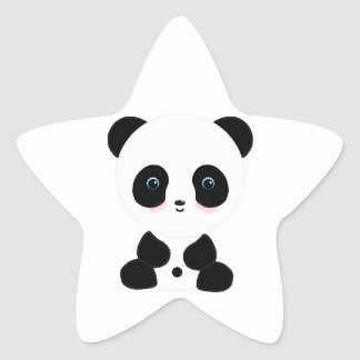 Cute Blushing Panda Bear Star Sticker