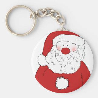 Cute Blushing Santa Basic Round Button Keychain