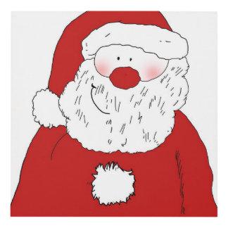 Cute Blushing Santa Panel Wall Art