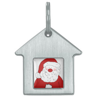Cute Blushing Santa Pet ID Tag