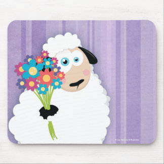 Cute Blushing Sheep Holding Flowers Novelty Mouse Pad