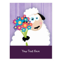 Cute Blushing Sheep Holding Flowers Postcards
