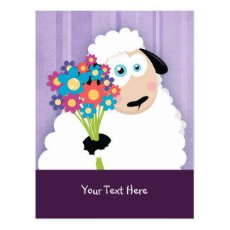 Cute Blushing Sheep Holding Flowers Postcards