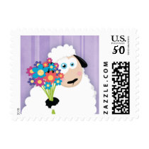 Cute Blushing Sheep Holding Flowers - Small Postage