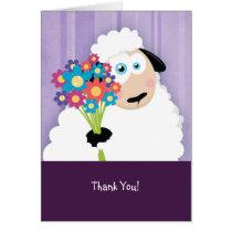 Cute Blushing Sheep Holding Flowers Thank You Card