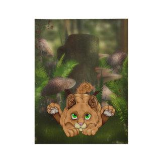 Cute Bobcat Kitten Wood Poster