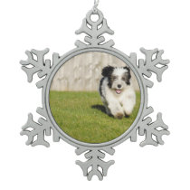 Cute Bobtail Sheepdog Snowflake Pewter Christmas Ornament