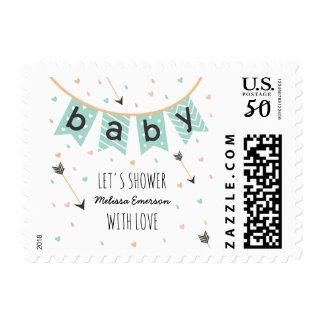 Cute Boho Baby Shower Postage   Mint