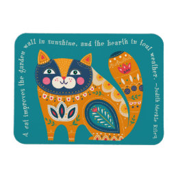 Cute Boho Cat with quote Magnet