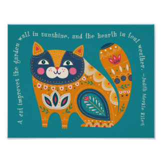 Cute Boho Cat with quote Poster