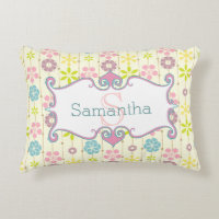 cute boho chic floral pattern monogram accent pillow