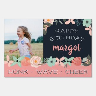 Cute Boho Floral Photo Kids Drive By Birthday Sign