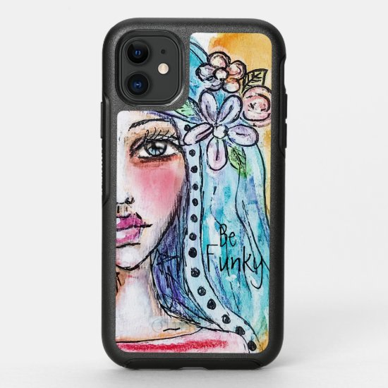 Cute Boho Girl Colorful Whimsical Watercolor Artsy OtterBox Symmetry iPhone 11 Case