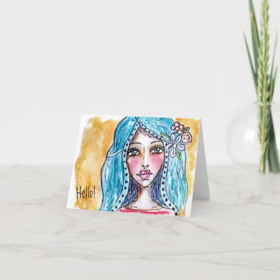 Cute Boho Girl Fun Whimsical Watercolor Art Note Card