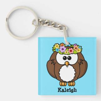 Cute Boho Headband Owl on Light Blue Keychain