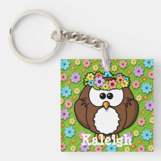 Cute Boho Headband Owl on Pastel and Green Floral Single-Sided Square Acrylic Keychain