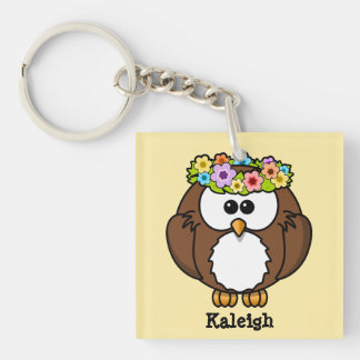 Cute Boho Headband Owl on Yellow Keychain